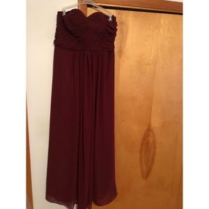 Wine colored prom dress.